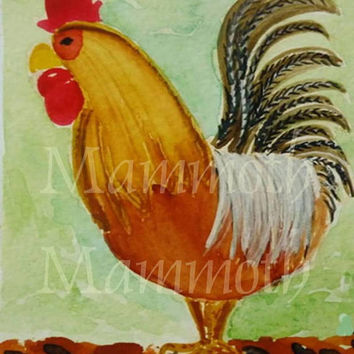 Rooster painting watercolor download rustic wall decor -Farmhouse wall decor -country kitchen decor- Chicken digital download