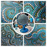 Hand Painted Metal Globe Dot Painting blue planet Earth