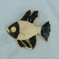 Large Black White Fish Brooch Enamel Rhinestone Eye Figural Marine Jewelry