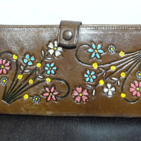 Vintage Brown Tooled Leather Wallet with Colored Floral Design - Never Used