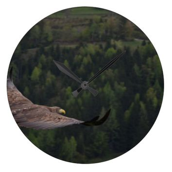 Bird of prey in flight wall clock