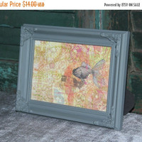 ON SALE Grey 5x7 picture frame with ornate corner appliques - Grey decor, ornate frame, painted frame, upcycled frame