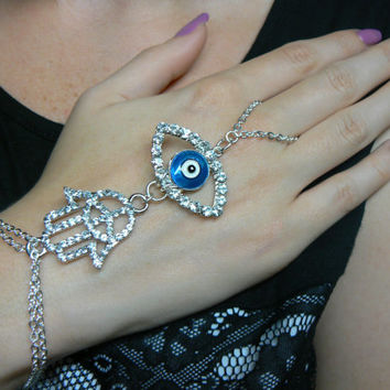 evil eye hamsa  slave bracelet RHINESTONE  peace sign evil eye  Fatima protection Indie Fusion Belly dancer Moroccan gypsy boho hipster