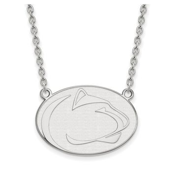 NCAA 10k White Gold Penn State Large Pendant Necklace