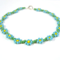 Fall Fashion Jewelry: Turquoise Flower Friendship Bracelet with Seed Beads UK Seller