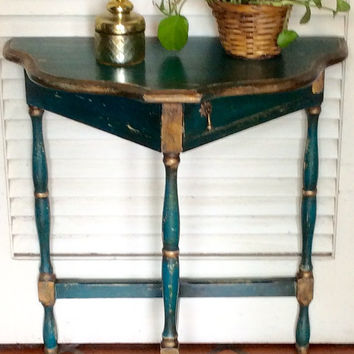Blue  Side/Foyer Table Vintage 1940s