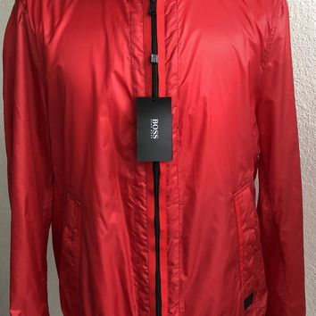 NWT $395 Boss Hugo Boss Black Label Collins Rain Jacket Bright Red Size 44R US