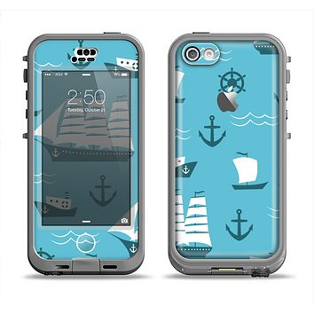 The Subtle Blue Ships and Anchors Apple iPhone 5c LifeProof Nuud Case Skin Set