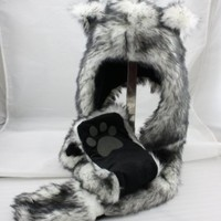 White Wolf Anime Faux Animal Hood Hoods Mittens Gloves Scarf Spirit Paws Ears