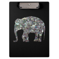 Customize Sparkly colourful silver mosaic Elephant Clipboards