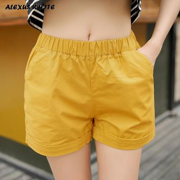 Summer Women Shorts Elastic Mid-waist Shorts Solid Candy Color Casual Sportswear 4xl Plus Size Cotton Short Pants High Quality