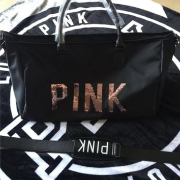 Victoria New fashion fitness bag lady bright pink letter travel bag large capacity handbag Black