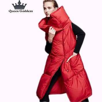 2017 The new fashionable high quality warm women's down jacket vest large size female outwear Square high quailty parkas
