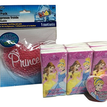 Princess Care Package. Disney Princess Facial Tissues & Heart-shaped Magic Cotton Washcloth (Grows in Water!); Pink Heart-shaped Soothing Compress or For Lunchbox; 3-pc