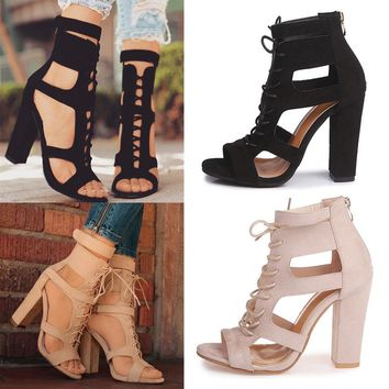 WOMENS LADIES BLOCK HIGH HEEL SANDALS LACE UP GLADIATOR SHOES ANKLE STRAP SIZE