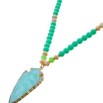 Aqua Stone Arrowhead Necklace