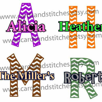 Chevron Name Decal or Iron-on Transfer (Glitter or Mat) - Custom Name - for Computers, Shirts, Totes and More.