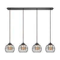 Yardley 4-Light Linear Pendant Fixture in Oil Rubbed Bronze with Mercury Glass and Wire Cages