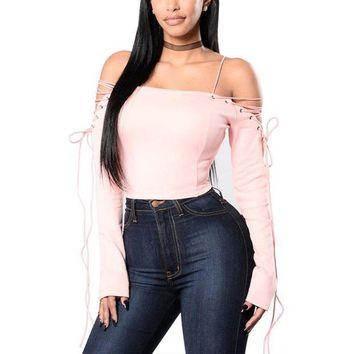 ONETOW Women Sexy Off Shoulder Blouses Tops 2017 Spring Autumn Slash Neck Lace Up Long Sleeve Backless Solid Blusas Shirts Plus Size