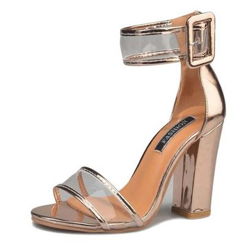 Square Heel Clear Buckle Strap Spring Sandals