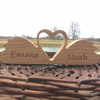 Personalized Natural Oak or Ash Wood Love Swans Wedding Decor, Wedding Table Decor, Couples Wedding Decor, Custom Wooden Decor