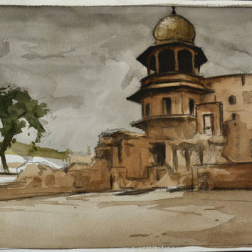 India Painting Red Fort Watercolor Original 10x14