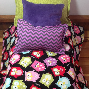 "Doll bedding with colorful owls, purple chevron, reversible to green, 4 pc set for 18"" dolls,  3 pillows, little girl gift"