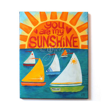 Kids Wall Art, YOU Are My SUNSHINE, CUSTOM 11x14 Painting for Nursery
