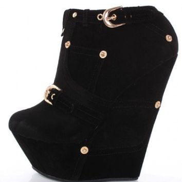 Black Faux Suede Buckle And Studded Detailed Wedges @ Amiclubwear Wedges Shoes Store:Wedge Shoes,Wedge Boots,Wedge Heels,Wedge Sandals,Dress Shoes,Summer Shoes,Spring Shoes,Prom Shoes,Women's Wedge Shoes,Wedge Platforms Shoes,floral wedges,Fashion Wedge S
