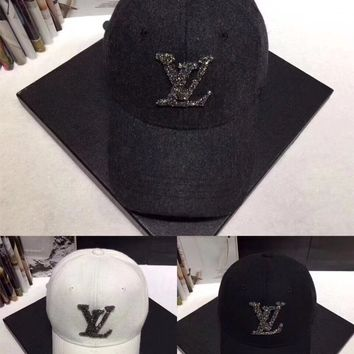 """Louis Vutitton"" Women Casual Fashion Diamond Letter Logo Baseball Cap Flat Cap Sun Hat"