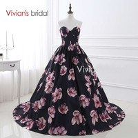 Vivian's Bridal Sweetheart Sleeveless Ball Gown Evening Dress Black Floral Print Evening Gowns Formal Dress For Party 26402