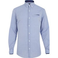 River Island MensPowder blue dotted long sleeve shirt