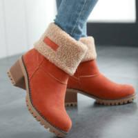 New style of low-cut, velvety, warm, spare flat boots for ladies