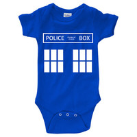 """Dr. Who """"TARDIS"""" Onesuit Creeper (New Born - 24 Months)"""
