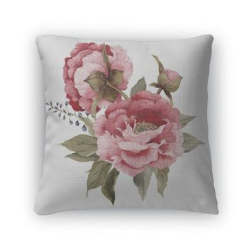 Throw Pillow, Bouquet Of Watercolor Peonies