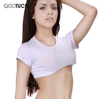 New 2016 Sexy  Elastic Crop Top  Women Publicize Midriff Cropped Tanks Top Football girl See Through Short Sleeve Gootuch 2462