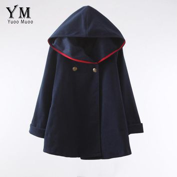 YuooMuoo 2017 Fashion Women Wool Coat European Style Winter  Autumn Coat Ponchos and Capes Female Hooded Jacket Casual Trench