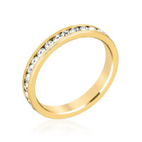 Stylish Stackables Clear Crystal Gold Ring, size : 04