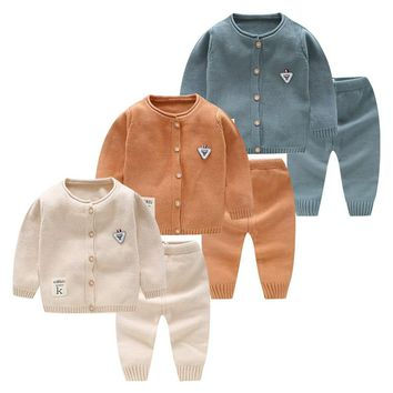 Cotton 2pcs Newborn Baby Clothes Infant Boys Clothing Outfits Sets Cardigan Knitting Jacket+Pants Autumn Winter Sweater Baby Set
