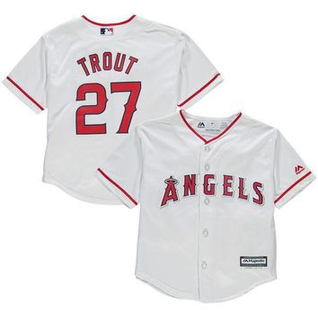 Cheap youth Los Angeles Angels #27 Mike Trout Baby 2-4 old year Cool Base toddler Jersey stitched S-L