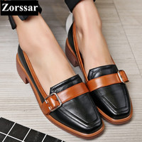 Genuine leather Square Toe Flats Oxford Shoes Women Single shoes 2017New  Fashion Lace-Up Summer Shoes Womens Flat Leather Shoes