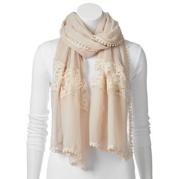 Candie's Lace Floral Oblong Scarf, Size: One