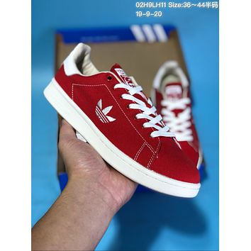 HCXX A354 Adidas Stan Smith Canvas Embroidered LOGO Low Top Skate Shoes Red White
