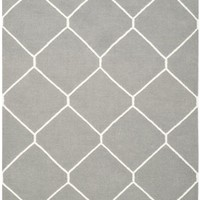 Dhurries Contemporary Indoor Area Rug Grey / Ivory