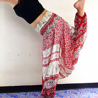 Women Harem Pants Yoga Pants Drop Crotch Aladdin Pants Maxi Pants Baggy Pants Gypsy pants Jumpsuit Trouser Elephant Pants Red (HP67)