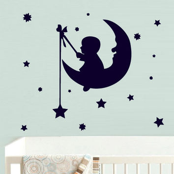 rvz742 Wall Decal Vinyl Sticker Nursery Kids Baby Moon Crescent Stars Boy Fishing Z742
