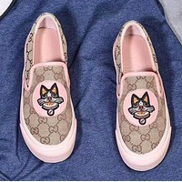 GUCCI Slip-On Classic Popular Women Comfortable Dog Embroidery Flat Shoes Sneakers Pink