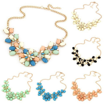 Bohemian Women's Resin Flowers Bib Statement Choker Collar Chain Necklace Pendant = 1928711428