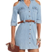 Cold Shoulder Chambray Shirt Dress: Charlotte Russe