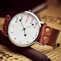 Man Woman Watch Leather Wrist Watch